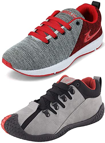 2a6595056f294d Ethics Best Red Air Breathing Running Sports Shoes & Grey Red Running  Sports Shoes for Men