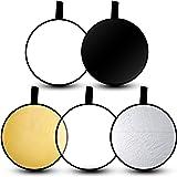 Emart 24 5-en-1 Estudio de fotografía portátil Multi Photo Disc Reflector de luz plegable con bolsa - Translúcido, plateado, dorado, blanco y negro