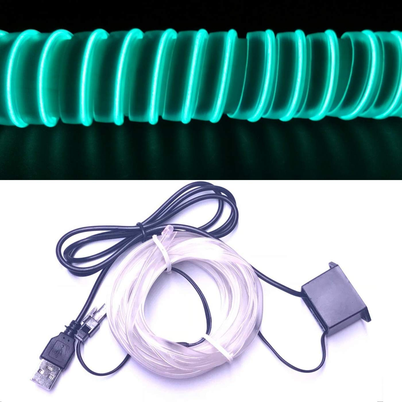M.best USB Neon LED Light Glowing Electroluminescent Wire//El Wire for Automotive Interior Car Cosplay Decoration with 6mm Sewing Edge 5M//15FT, Blue
