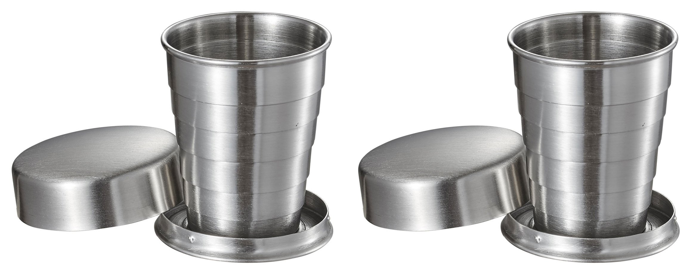 Visol Scope Stainless Steel Folding Shot Cup (2 Pack), 2 oz, Silver