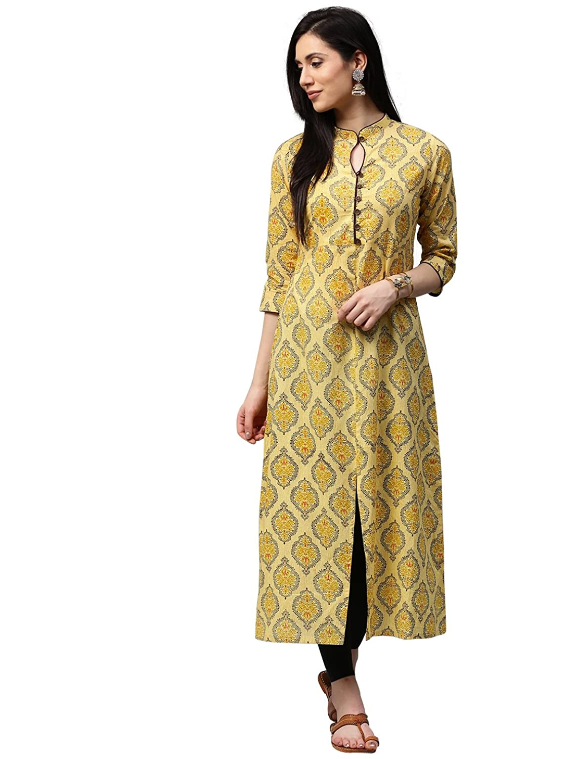 Women Yellow Booti Print Cotton Kurta