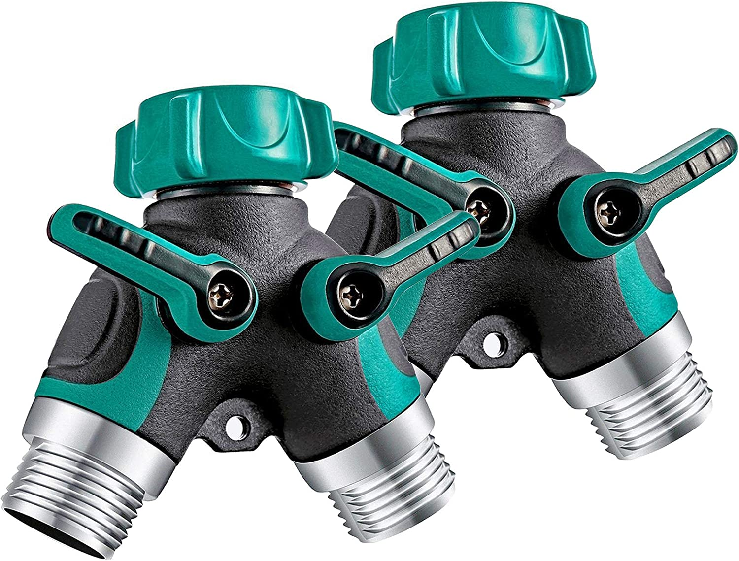 OKK Garden Hose Splitter 2 Way, Y Hose Connector Metal Body with Rubberized Grip, 3/4 inch Y Valve Water Faucet Splitter for Outdoor and Indoor,2 Pack