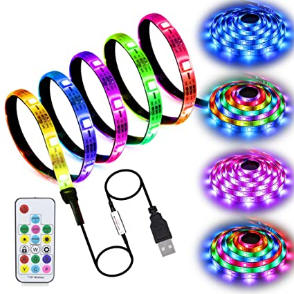 new style b01d4 1dee6 LED Strip Lights USB Powered, abtong Rainbow Color LED Lights Strip LED TV  Backlight Strip with RF Remote Color Changing Accent Light Set Waterproof  ...