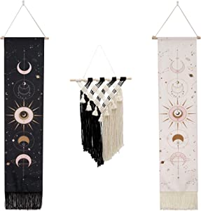 KEFAN 2 PCS Moon Phase Hanging Tapestry and 1 Macrame Boho Chic Wall Art Decor for Bedroom, Living Room and Weddings (3PCS)