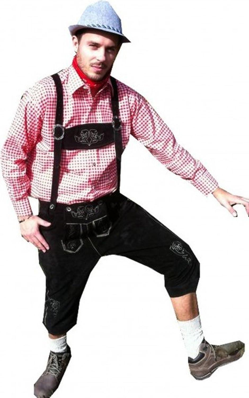 Kniebund Trachten Lederhose Leder Hose mit Trägern schwarz Oktoberfest 44 46 48 50 52 54 56 58 60 62 64