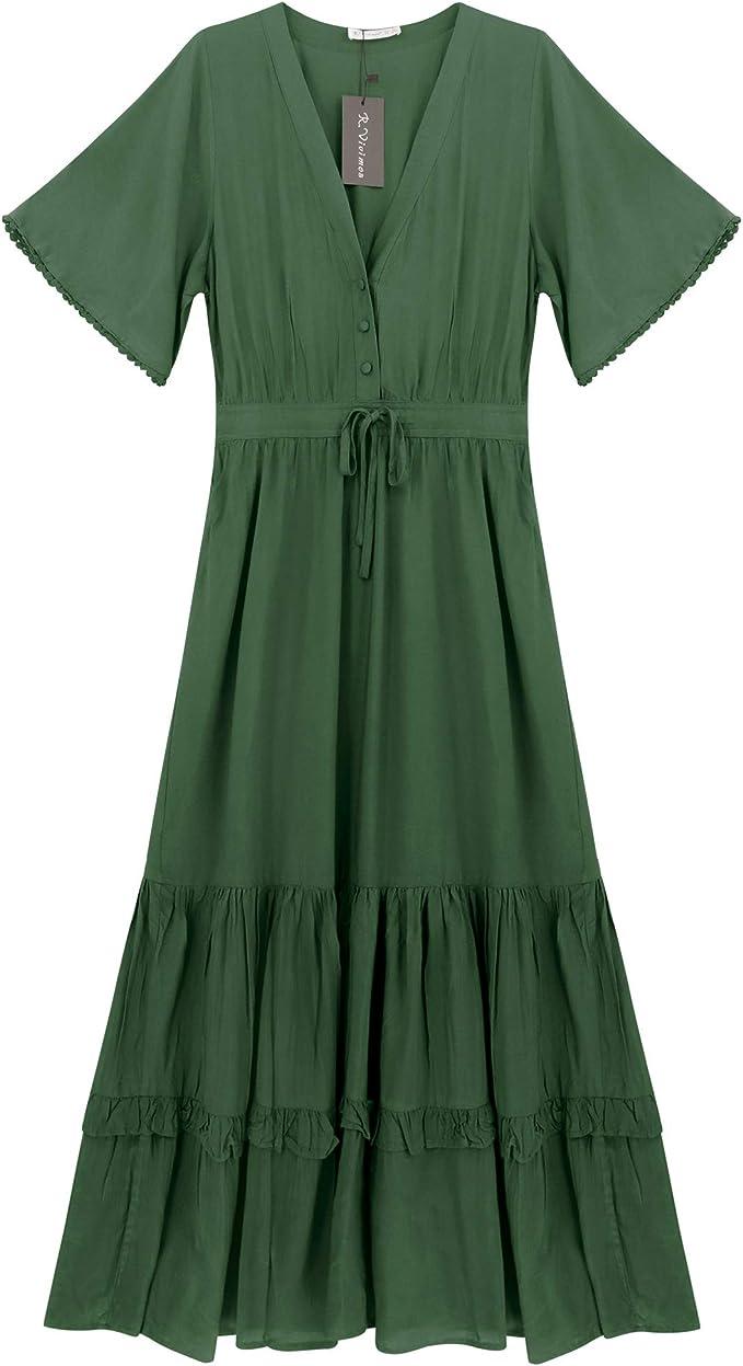 Peasant Dresses & Prairie Dresses R.Vivimos Womens Summer Cotton Short Sleeve V Neck Floral Print Casual Bohemian Midi Dresses $33.99 AT vintagedancer.com