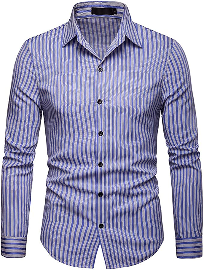 linqiudD Mens Casual Button Turn-Down Collar Slim Fit Long Sleeve Top Shirt Blouse