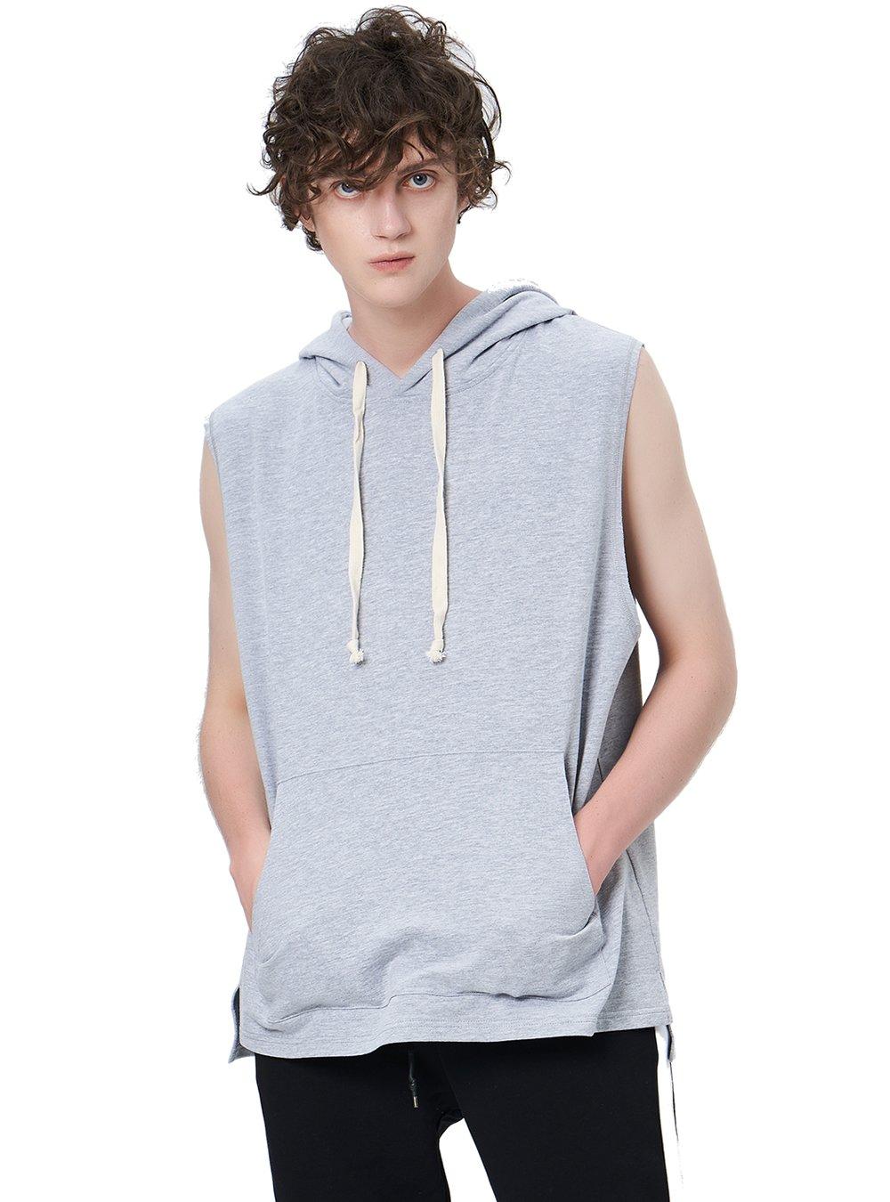 Zengjo Men's Sleeveless Hooded Hip Hop Tanktop Active Hipster Sportwear Sweatshirt Solid Drawstring Hoodie (Heather Grey-M)