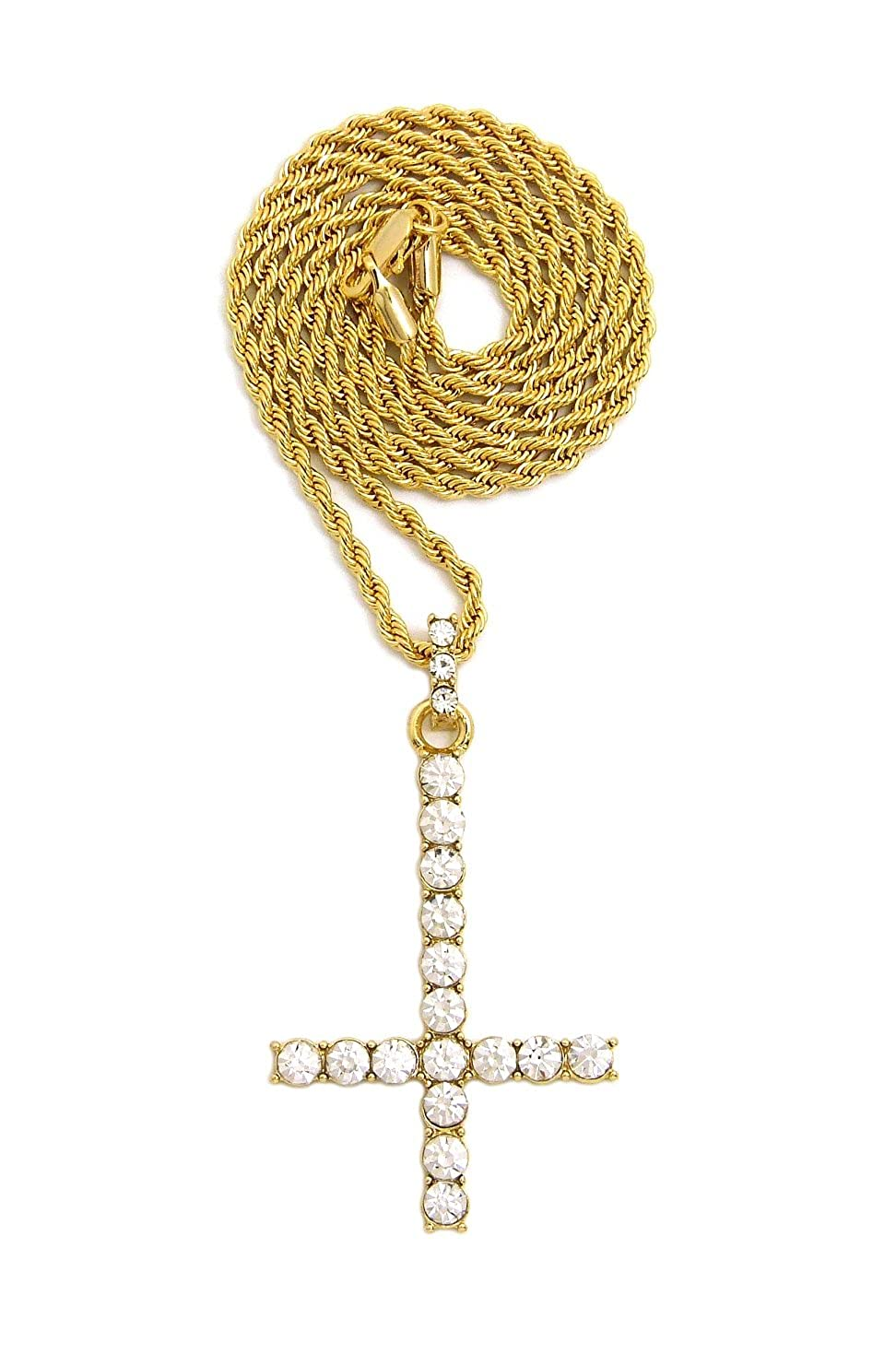 Gold-Tone Stone Stud Saint Peter Cross Pendant with 2mm 24 Rope Chain Necklace