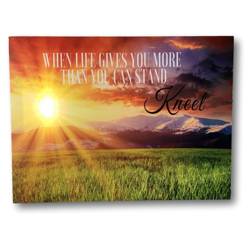 Banberry Designs When Life Gets Too Hard To Stand.Kneel - LED Lighted Canvas Print with Sunset - Christian Wall Art by Banberry Designs