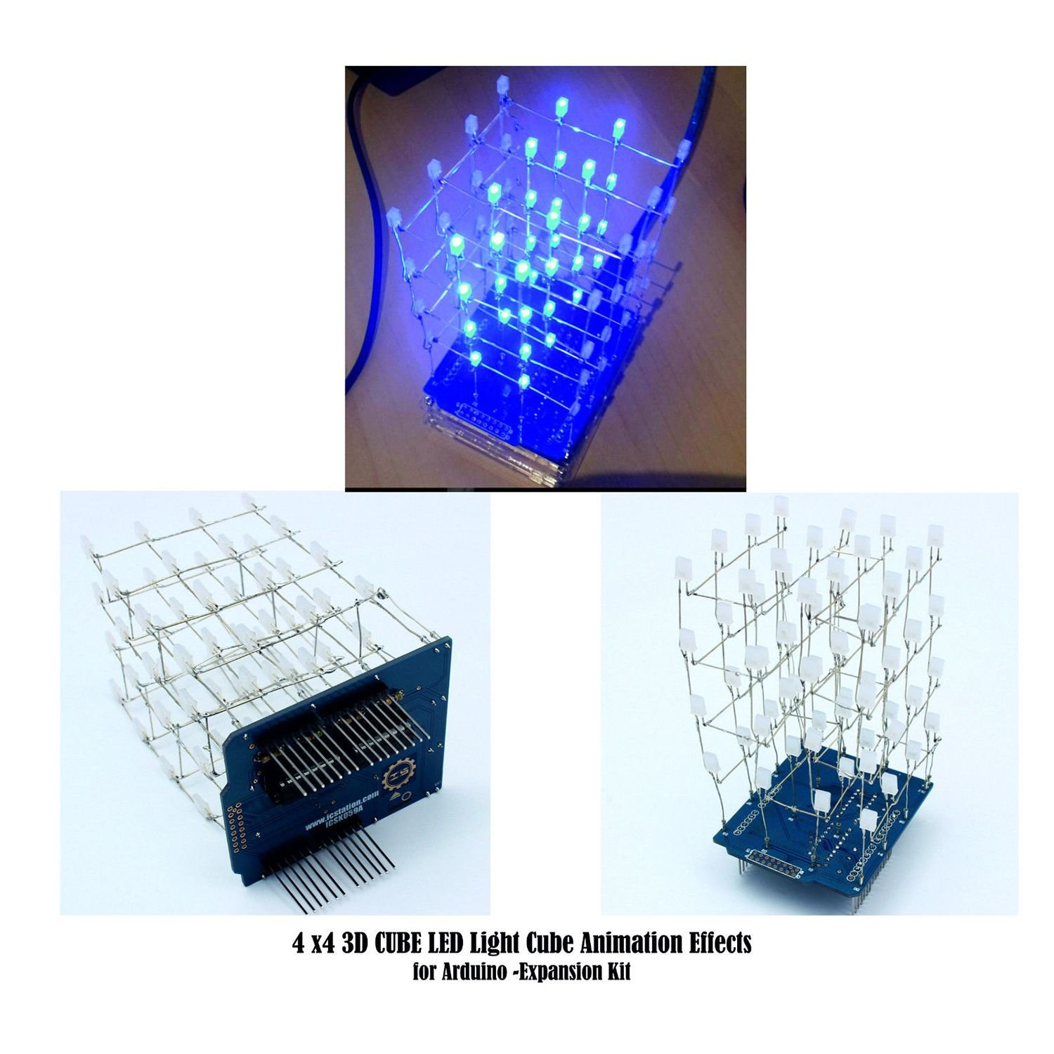 Sodial Blue 4x4x4 New 3d Light Cube Kit Uno Shield Led Diy Project Schematic Strip Lighting Wiring Diagram For Arduino Tools