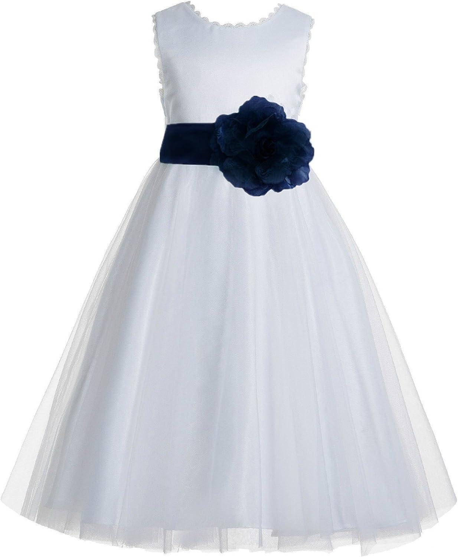 ekidsbridal V-Back Lace Edge Ivory Flower Girl Dress Baptism Dresses Communion Dress Recital Dress 183T
