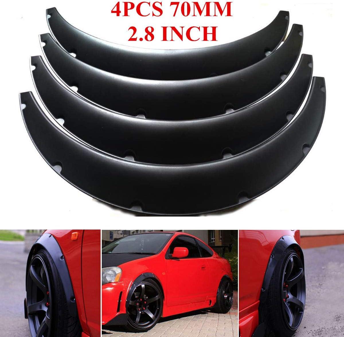 4PCS 70Mm Mud Flaps Universal Car F/ür Kotfl/ügelverbreiterungen Radlaufblende Streifen Braue Schutz Spritzschutz JKBDNB Universal-Fender