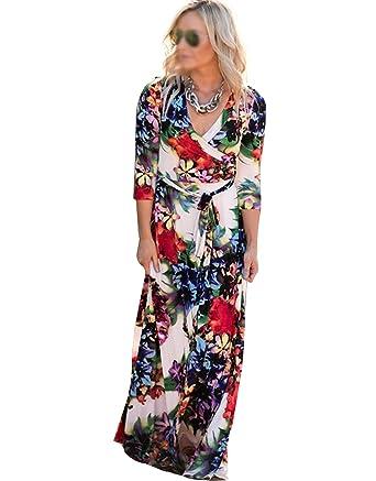 fd3d91cfa2948 AiSi Robe Longue Fleurie Femme Robe Imprimee Ceinture avec Col V Manche 3 4  - Taille