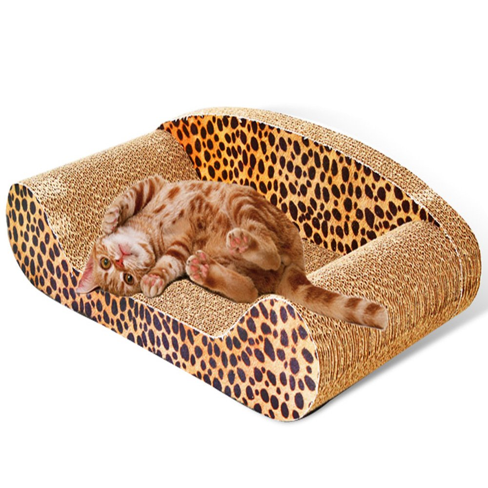 MicroMall Sofa Design Cat Scratching Corrugated Board Toy Scratcher Bed Pad L Size with Catnip