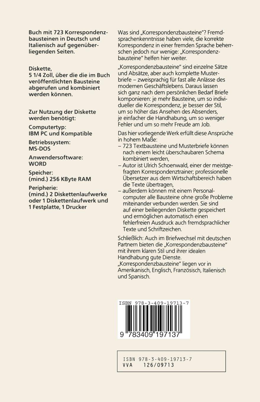 Korrespondenzbausteine Italienisch Amazonde Ulrich Schoenwald Bücher