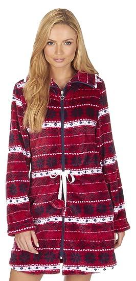Bata corta Fair Isle de forro polar con cremallera, para mujer-- Rojo rosso XL: Amazon.es: Ropa y accesorios