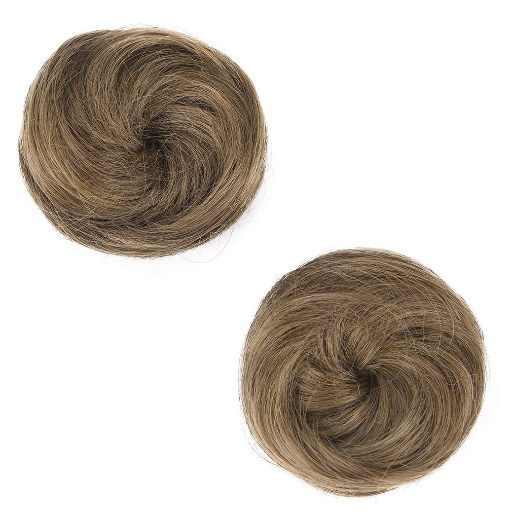 REECHO 2 PCS Mini Claw Clip in Messy & Cat Ears Hair Bun Extensions Wig Accessory Updo Hairpieces for Women Girls - Ash…