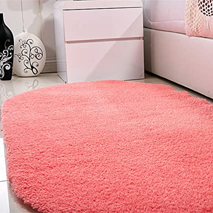 Amazon.com: Ukeler Salmon Pink Fuzzy Floor Runner Rugs Anti-slip ...