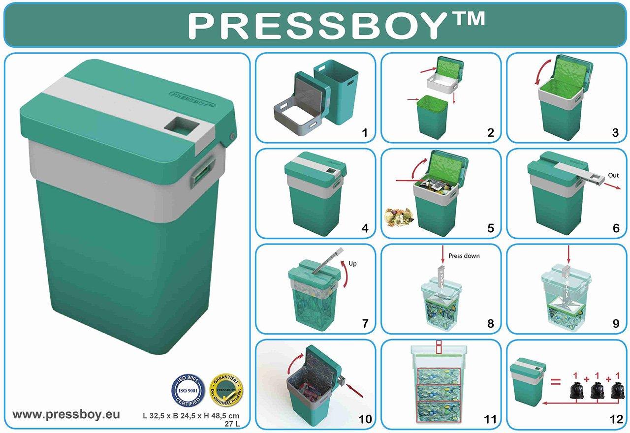 Pressboy poubelle avec dispositif de pression intégré dans TURQUOISE GRIS