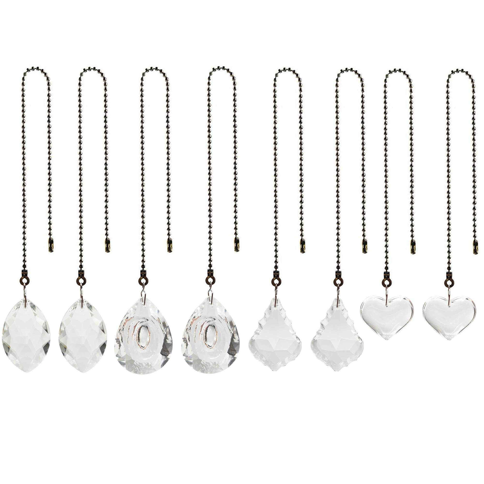 8 Pack 4 Styles Clear Crystal Prisms Charm Pendant Ceiling Fan Light Pull Chain Extender with 30cm Ball Chain Connector by FOWALCOO