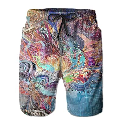 DIMANNU Men's Shorts Swim Beach Trunk Summer Skull Brain Acid Fit Fashion Shorts With Pockets