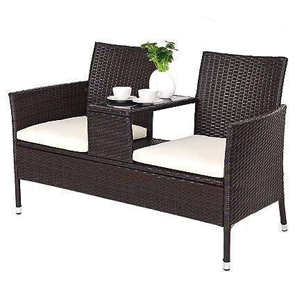 Amazon.com: Juego de Chat de ratán asiento de sofá dos ...