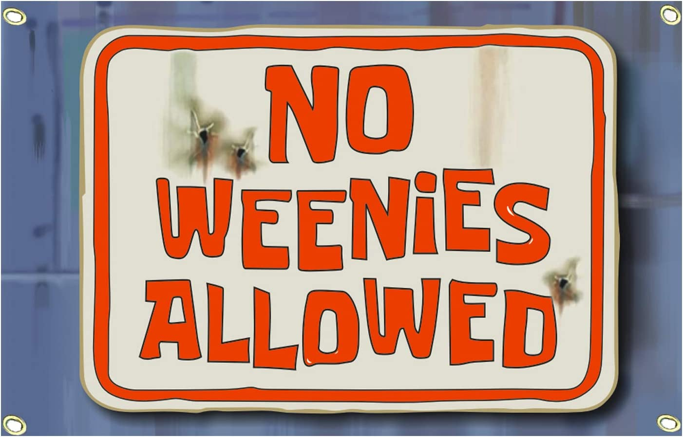 No Weenies Allowed Flag Wall Hanging Large Tapestry Funny Flags for Room College Dorm Decor Banner Indoor Bedroom Sign Heavy Wind with Brass