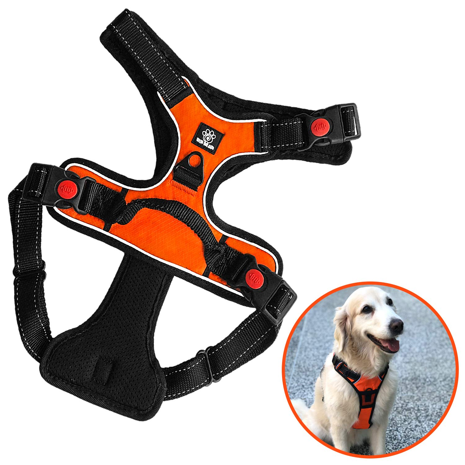 Paws Fur Life No Pull Large Dog Harness Pet Walking Reflective Oxford Padded Soft Vest for Large Dogs Adjustable Pet Vest with Strong Metal D-Ring & Heavy Duty Buckles