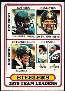 1980 Topps #319 Franco Harris/John Stallworth/Jack Lambert/Steve Furness/L.C. Greenwood Pittsburgh Steelers TL NFL Football Card NM-MT