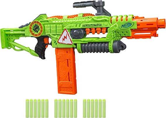 NERF Revoltinator Zombie Strike Toy Blaster with Motorized Lights Sounds & 18 Official Darts for Kids, Teens, & Adults
