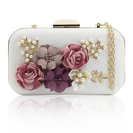 1b0532312c J&F Sac de Soirée Féminin Wallet Sac à Main Fleur Portefeuille de Perles  Handbag Pochette