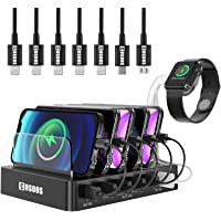 COSOOS USB Charging Station For iPhone, Charger Station With 5 Short lPhone Charger Cables,1 Type-C,1 Micro Cable,lWatch…