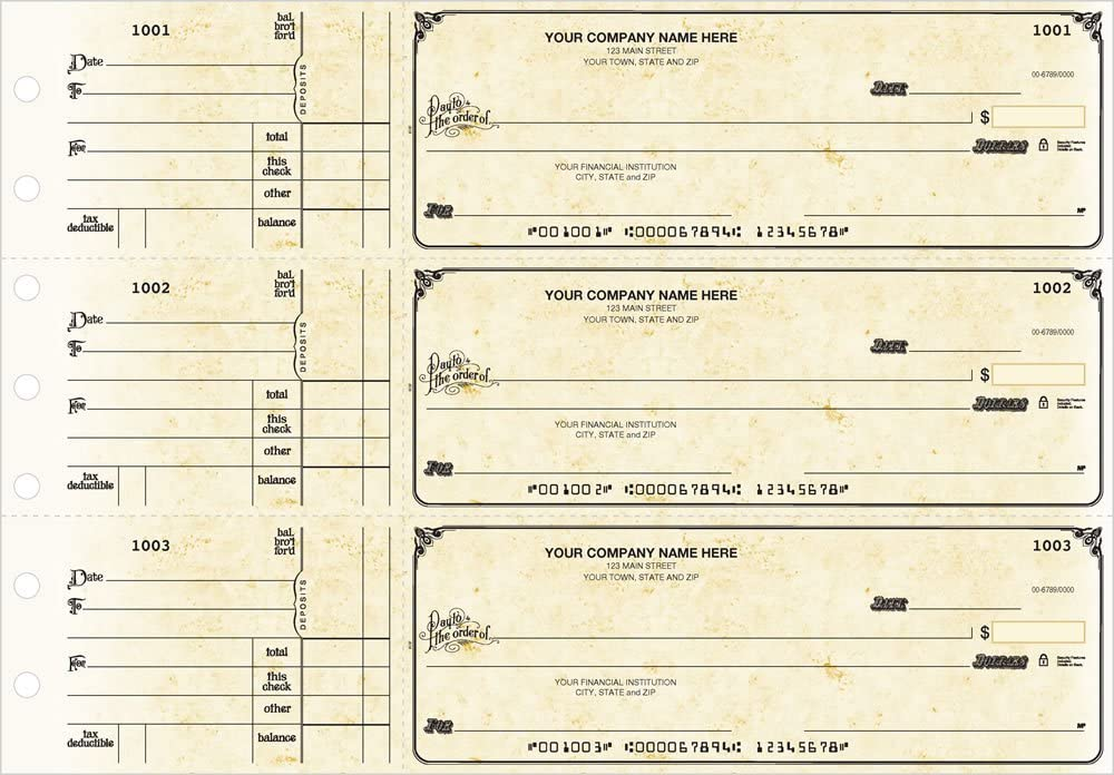 250 Single Checks 3 to a Page Blue Multipurpose Checks General Manual Business Checks