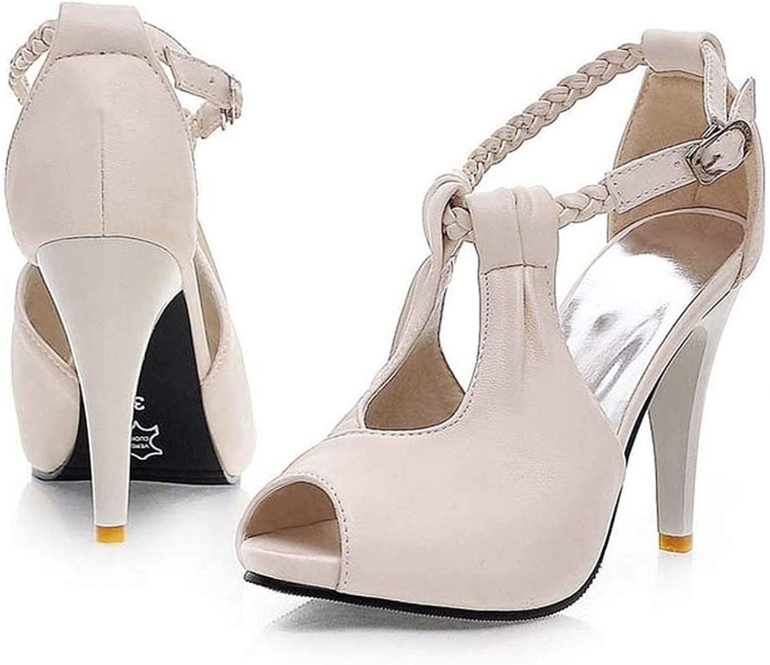 Womens Wedding Ankle Strap Platform Pumps High Wedge Heels Mary Janes Shoes 4-10