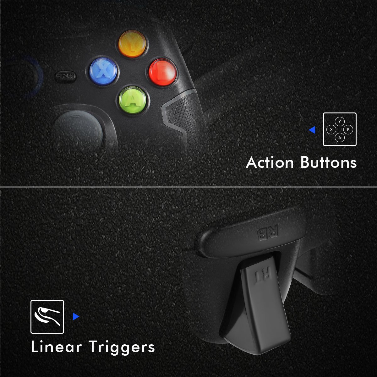 Wired Gaming Controller, EasySMX PC Game Controller Joystick with Dual-Vibration Turbo and Trigger Buttons for Windows/Android/ PS3/ TV Box (Gray) by EasySMX (Image #5)