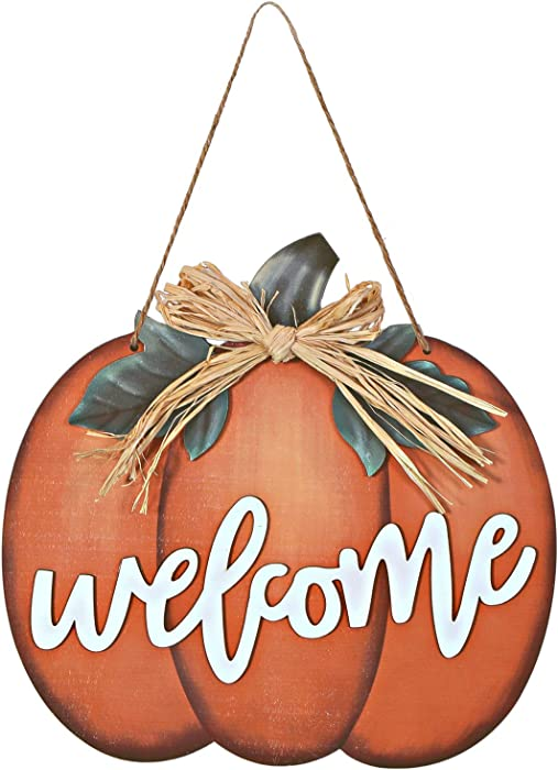 Wood Pumpkin Welcome Sign Harvest, Indoor Outdoor Flat Pumpkin Decoration for Halloween Autumn Harvest Thanksgiving Decoration Home House Kitchen Decor