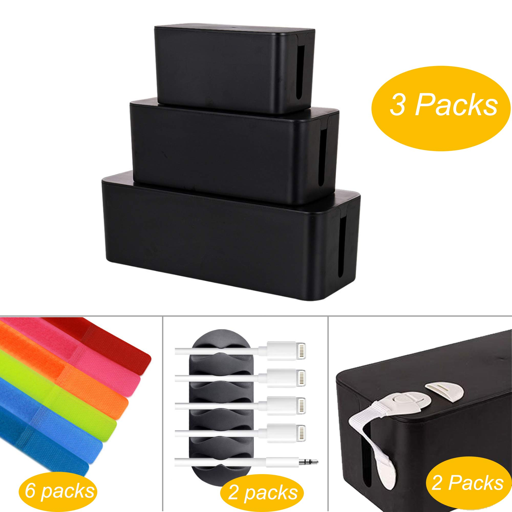 3 Sets Cable Management Box Organizer, 6 Reusable Wire Ties, 2 Cable Clips 2 Baby Safety Locks, Power Strips Hider Cord Storage, Home Office Electric Wires & Surge Protector Cover (Black)