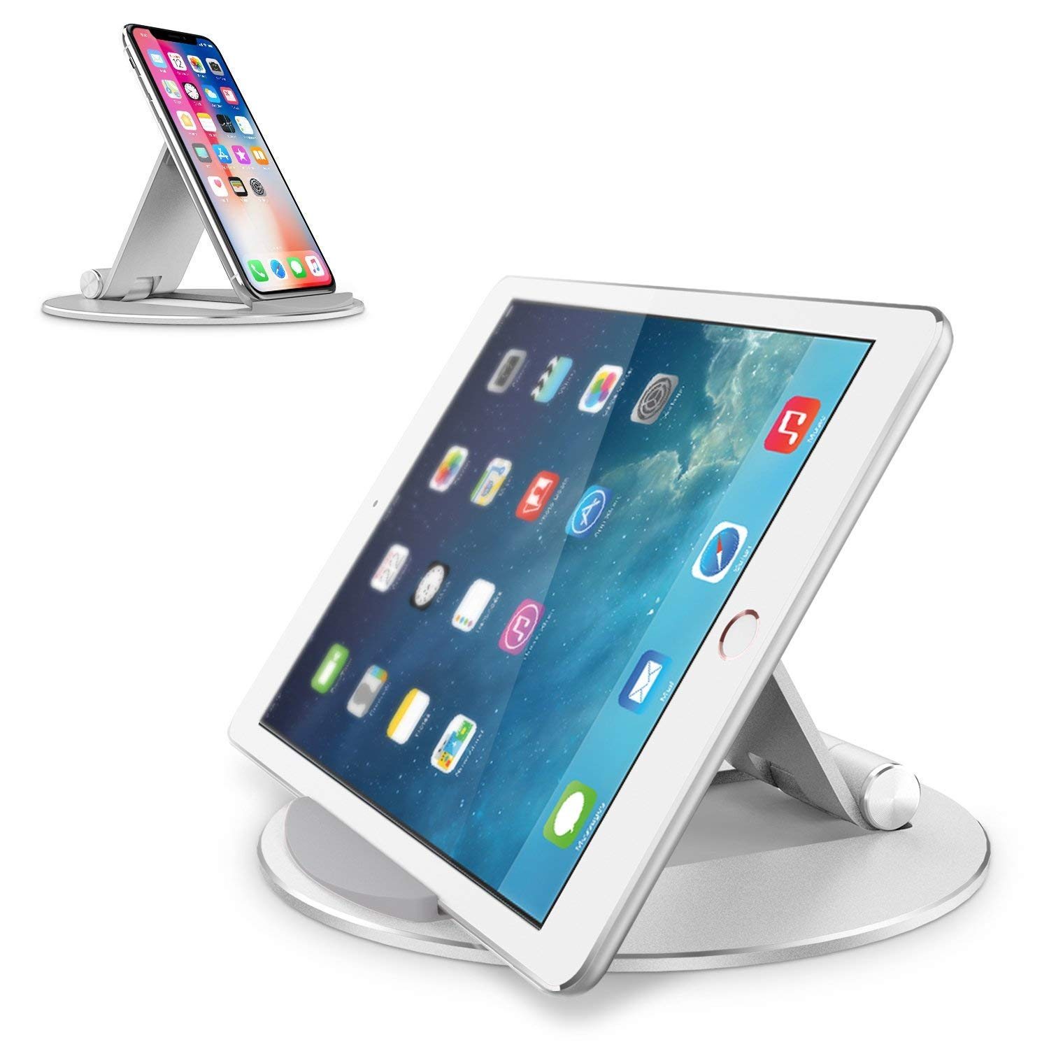 Adjustable Tablet Stand,CreaDream Aluminum Desktop Tablet Cellphone Stand with Anti-Slip Base, Portable Stand Holder for iPad Tablet, Samsung Tab, E-Reader and Cellphones, Silver