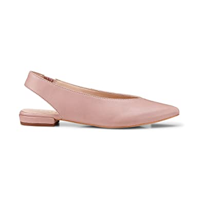 Another A Damen Damen Sling Ballerina, Leder Ballerinas in Rosa mit kleinem  Absatz rosa Leder 47bbb87371