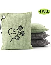 Natural Bamboo Charcoal Air Purifying Bag Deodorizer and Air Freshener Bags for Home, Bedrooms, Kitchen, Bathroom, Fridge, Closet, Car and Pet Areas (4 Pack 200G)