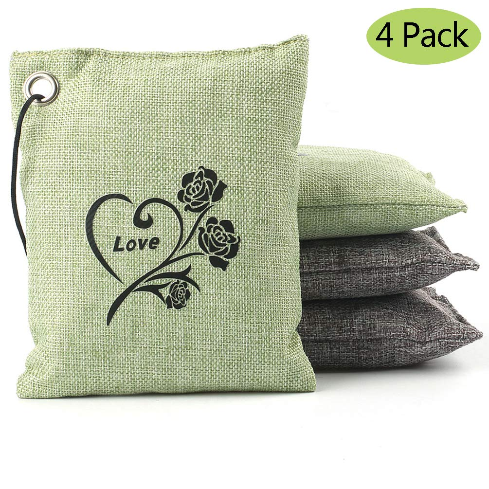 Natural Bamboo Charcoal Air Purifying Bag Deodorizer and Air Freshener Bags for Home, Bedrooms, Kitchen, Bathroom, Fridge, Closet, Car and Pet Areas (4 Pack 200G) product image