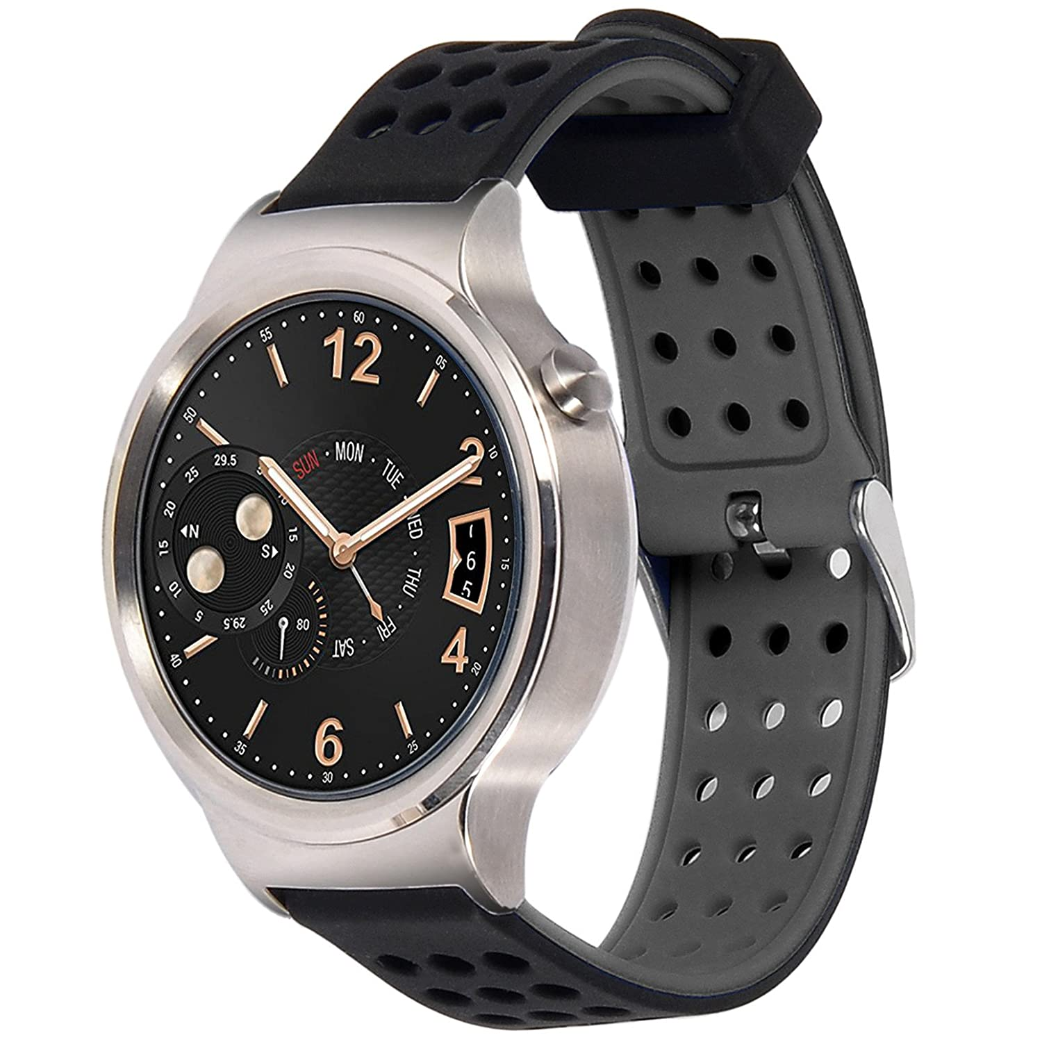 huawei fit smartwatch. greatfine 18mm width sport smart watch band wrist strap for huawei w1 , fit withings activite and all 18mm (blackgrey): amazon.co.uk: smartwatch