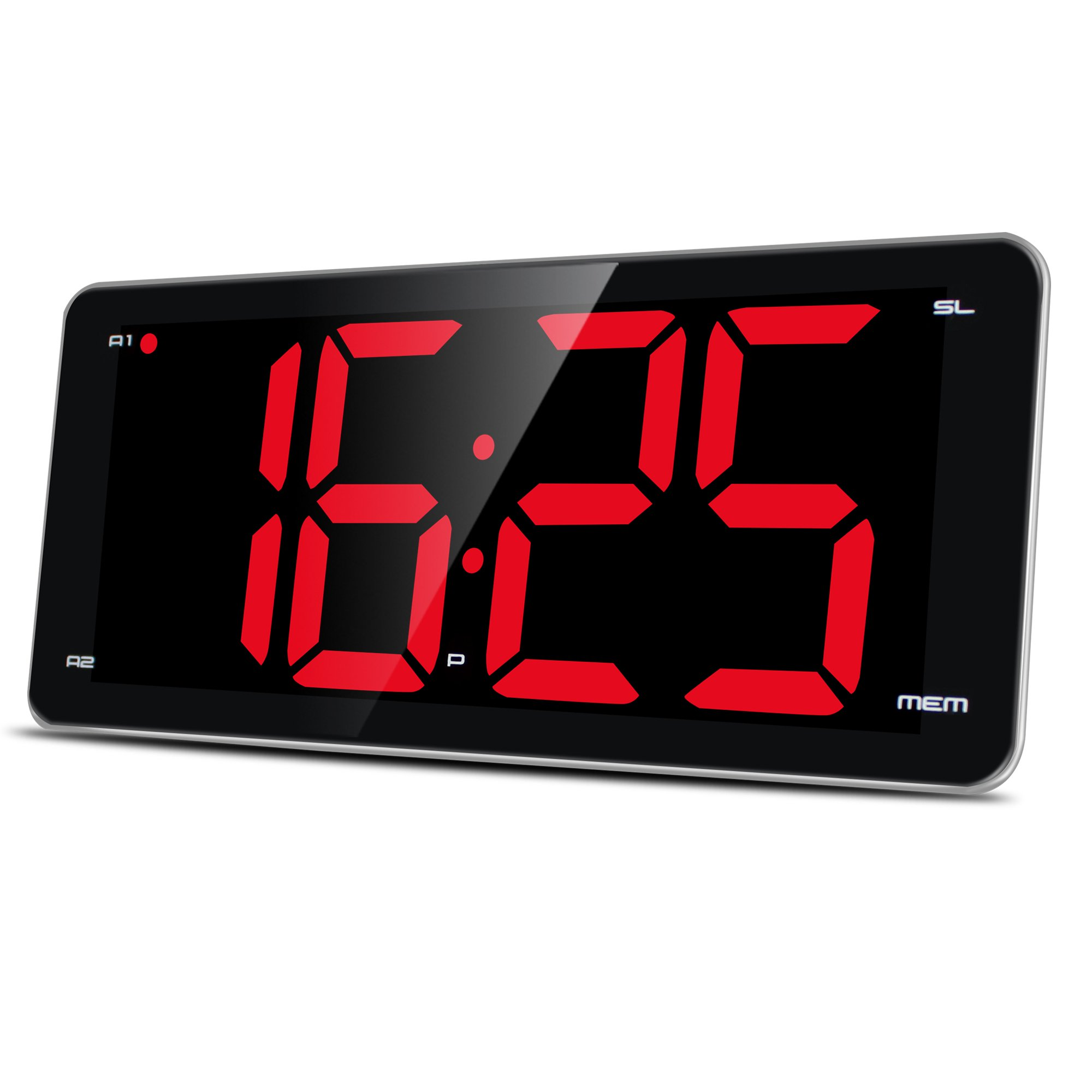 9.5'' Large Display Alarm Clock Radio, Jumbo LED Digital Alarm Clock with FM Radio, Full Range Dimmer, Dual Smart Alarm, Sleep Timer, Snooze, Battery Backup by LIELONGREN