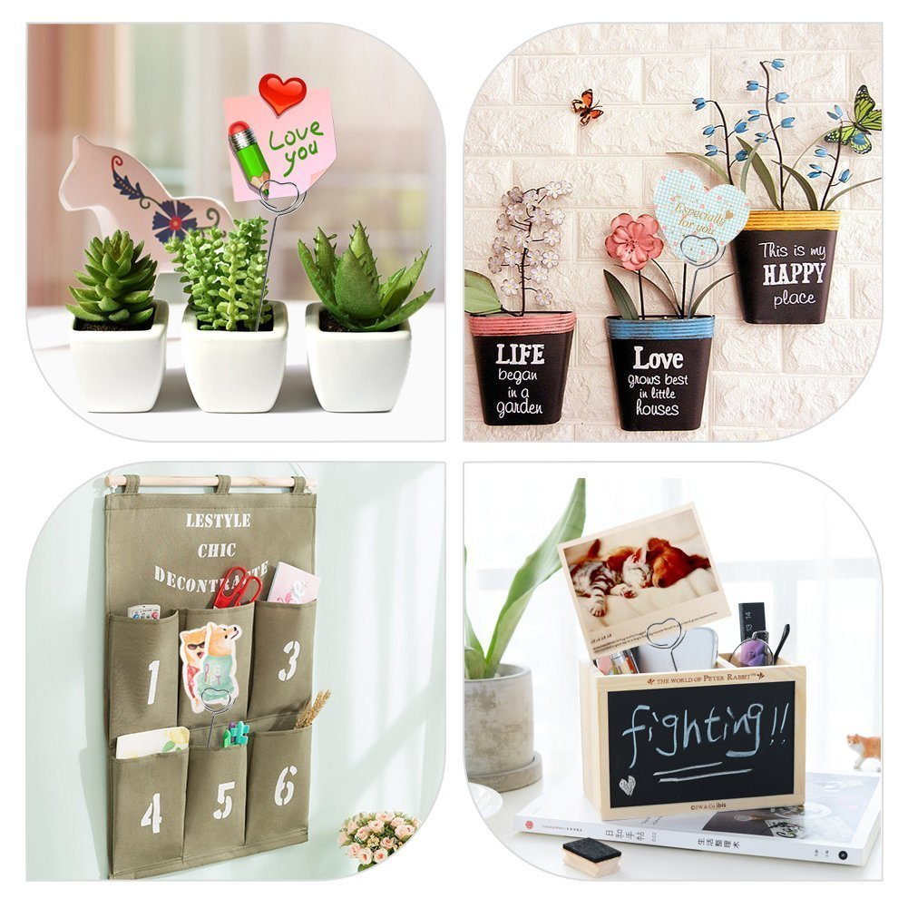 Photo Clip Holders,Love Heart Shape Craft Table Card Holders Metal Wires Picture Stand for Wedding Party Birthday Decoration,Silver Color 50Pcs/Bag