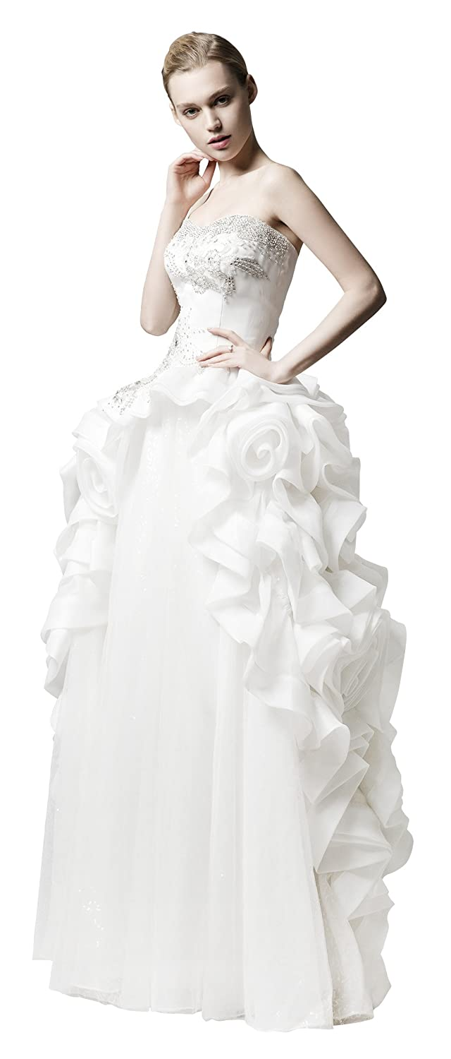 d657f1a7d2c1 Amazon.com: Jessie Q Women's Rhinestone Strapless Rose Flower Wedding Dress  Bride Gown: Clothing