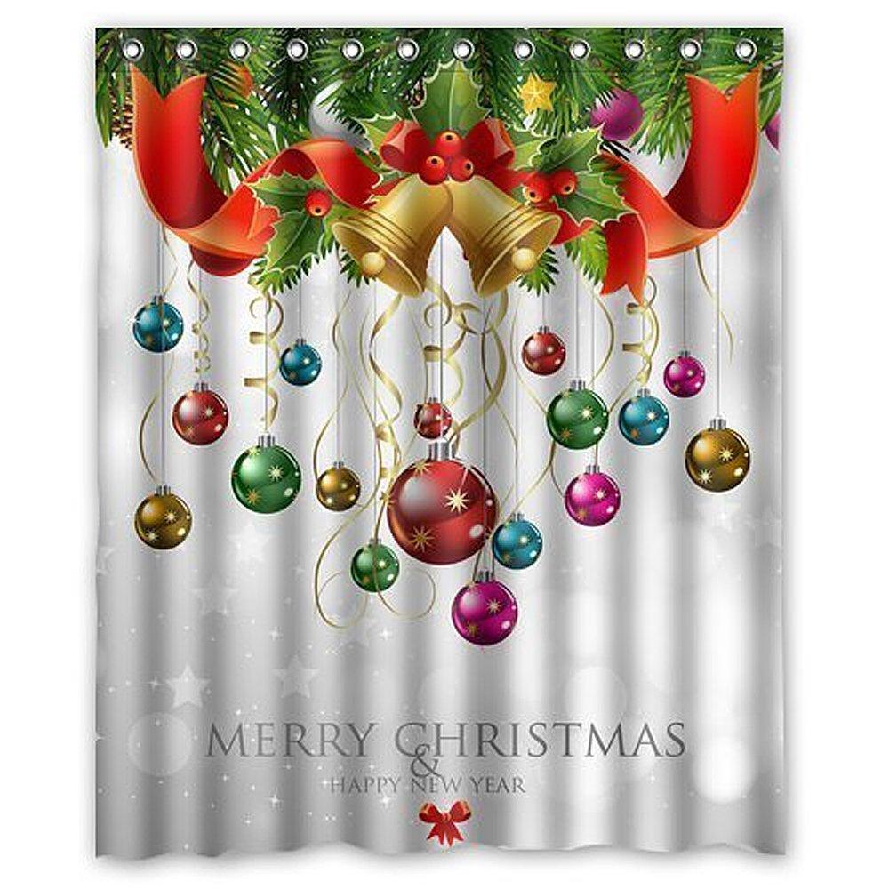 Custom Xmas Merry Christmas Happy New Year Waterproof Polyester Fabric 60(w) x 72(h) Shower Curtain Hooks HOTLOVE & CHARM HOME TK-ZJXM12