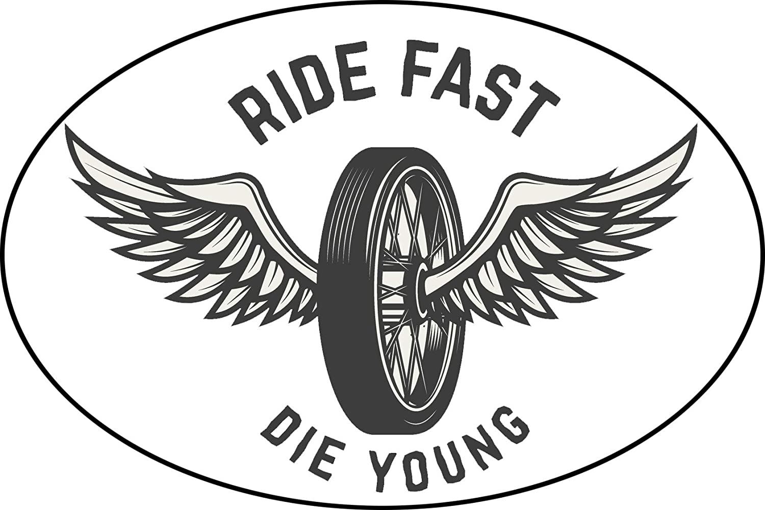 Amazon com cool black white vintage racing racer ride fast die young cartoon icon vinyl sticker 2 wide wheel with wings automotive