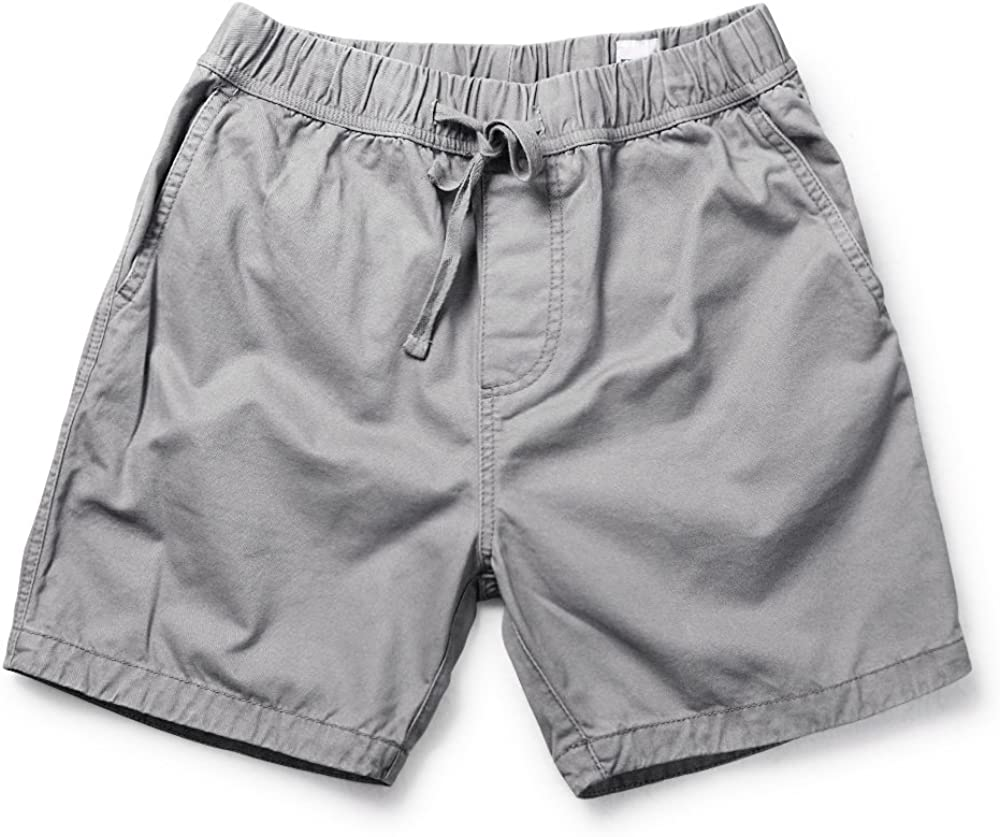 "Men's Classic-fit 7"" Cotton Casual Shorts with Elastic Waistband Grey 36"