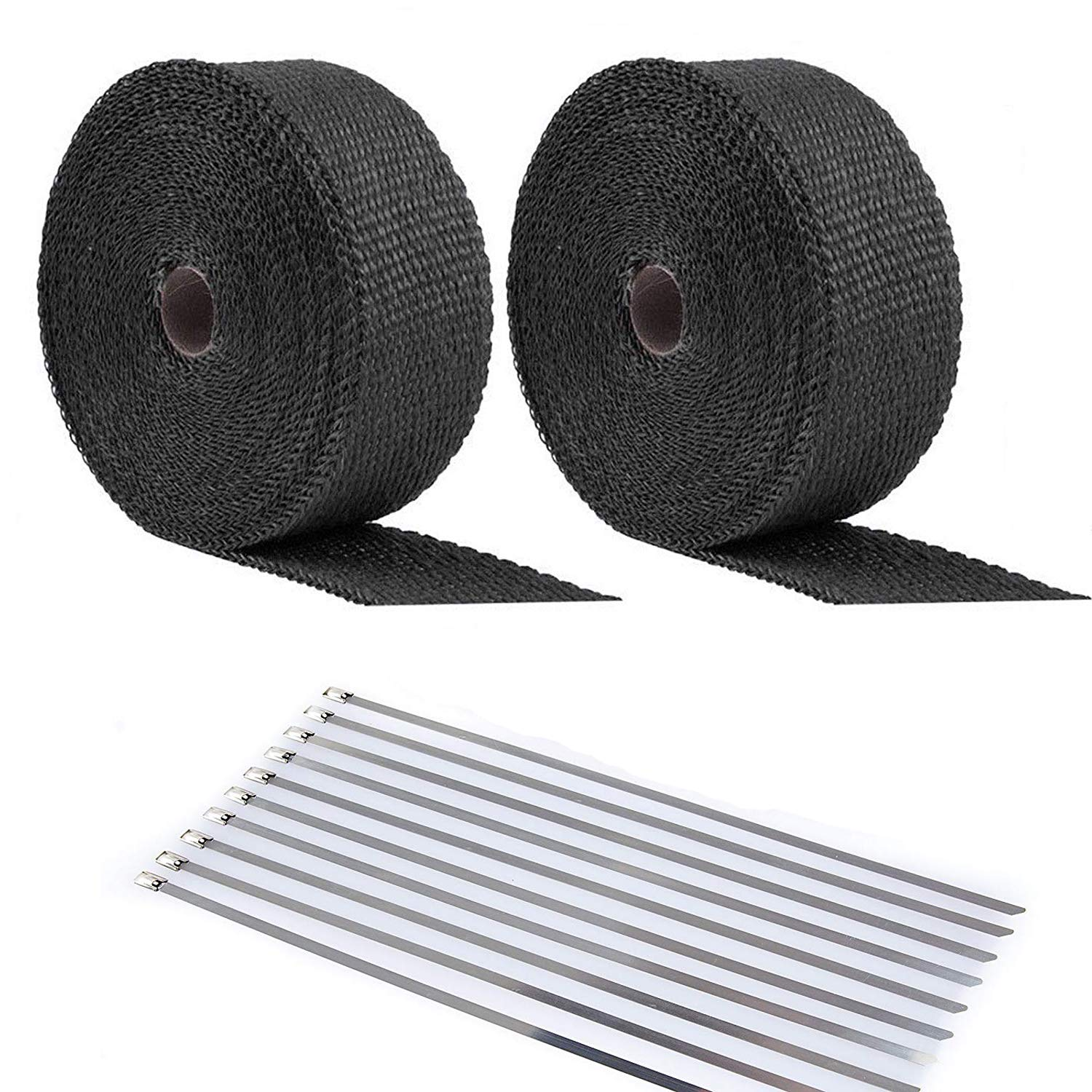 ANTS PART 20Pcs Ties + 2 Roll x 50FT Black Motorcycle Exhaust Heat Wrap Roll Fiberglass Heat Shield Tape (2 Roll + 20 Ties Kit) by ANTS PART